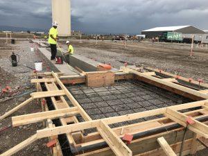 Montana Linen under construction rebar at press pad
