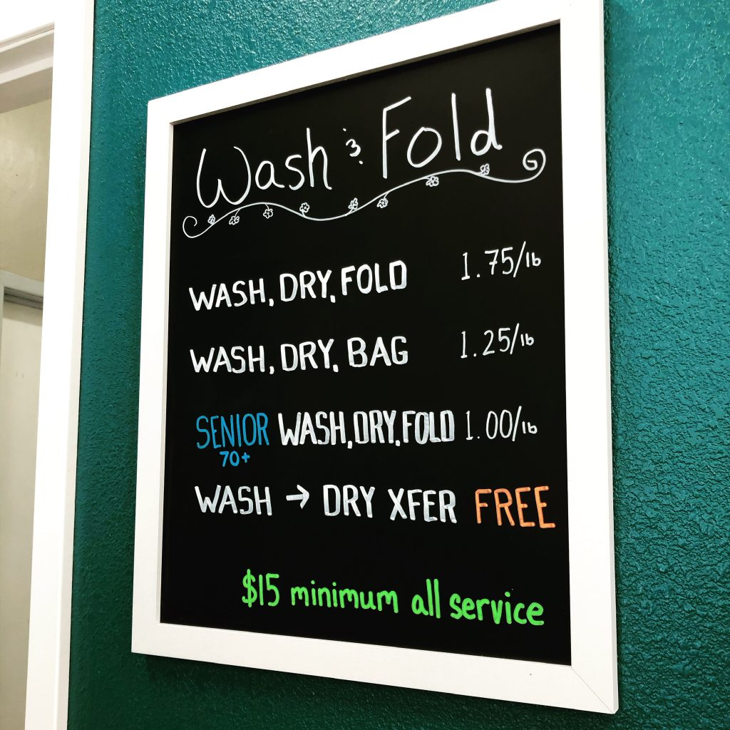 Wash & Fold Sign in The Laundry Room, Seabright, Santa Cruz - WSD Client